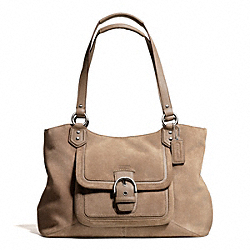 CAMPBELL SUEDE BELLE CARRYALL - SILVER/FLINT - COACH F24688