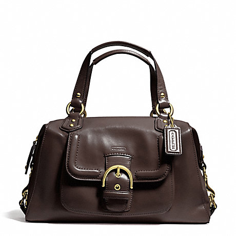 COACH f24690 CAMPBELL LEATHER SATCHEL BRASS/MAHOGANY