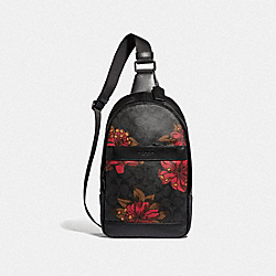 COACH F24726 Charles Pack In Signature With Hawaiian Lily Print RED LOGO MULTI/BLACK ANTIQUE NICKEL