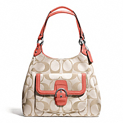 COACH CAMPBELL SIGNATURE HOBO - SILVER/LIGHT KHAKI/CORAL - F24742