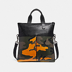 CHARLES FOLDOVER TOTE WITH CAMO PRINT - f24765 - TANGERINE MULTI/BLACK ANTIQUE NICKEL