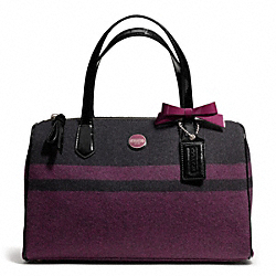 COACH F24784 Signature Stripe Wool Stripe Satchel SILVER/CHAR/PASSION BERRY