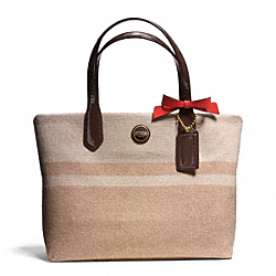 COACH F24786 Signature Stripe Wool Stripe Lunch Tote BRASS/CAMEL/MAHOGANY