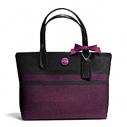 COACH F24786 Signature Stripe Wool Stripe Lunch Tote SILVER/CHAR/PASSION BERRY