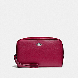 COACH F24797 Boxy Cosmetic Case SV/DARK FUCHSIA