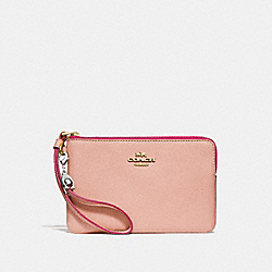 COACH F24803 Corner Zip Wristlet With Charms NUDE PINK/IMITATION GOLD
