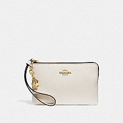 COACH F24803 - CORNER ZIP WRISTLET WITH CHARMS CHALK/LIGHT GOLD
