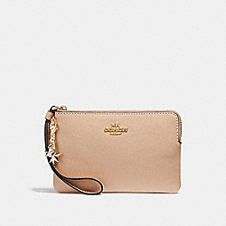 COACH F24803 Corner Zip Wristlet With Charms BEECHWOOD/LIGHT GOLD