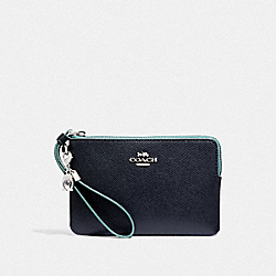 COACH F24803 - CORNER ZIP WRISTLET WITH CHARMS MIDNIGHT NAVY/SILVER