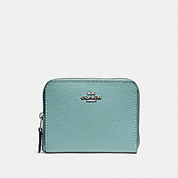COACH F24808 Small Zip Around Wallet SILVER/AQUAMARINE