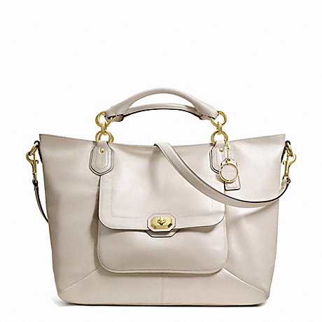 COACH F24845 CAMPBELL TURNLOCK LEATHER IZZY FASHION SATCHEL BRASS/PEARL