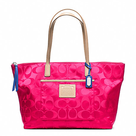 COACH f24862 WEEKEND SIGNATURE NYLON EAST/WEST ZIP TOP TOTE SILVER/PINK RUBY
