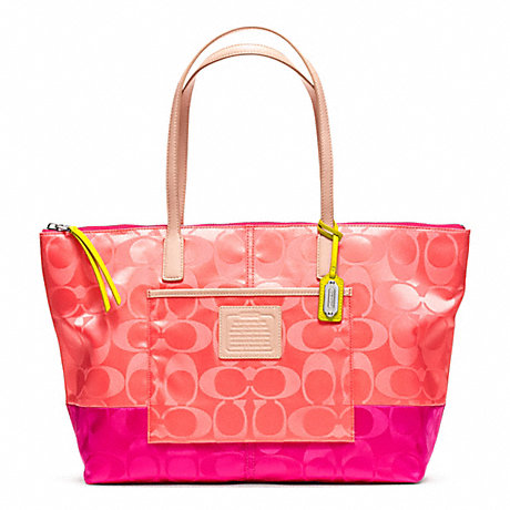 COACH f24865 WEEKEND SIGNATURE COLORBLOCK NYLON EAST/WEST TOTE