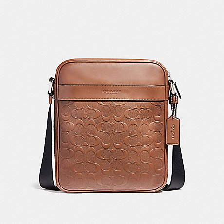 COACH F24868 CHARLES FLIGHT BAG IN SIGNATURE LEATHER NICKEL/SADDLE