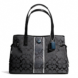 COACH F24882 - SIGNATURE STRIPE PYTHON STRIPE CARRYALL SILVER/BLACK GREY/BLACK