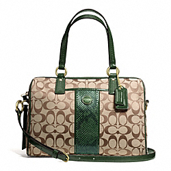 COACH F24884 - SIGNATURE STRIPE PYTHON STRIPE SATCHEL BRASS/KHAKI/GREEN