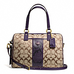 COACH F24884 - SIGNATURE STRIPE PYTHON STRIPE SATCHEL BRASS/KHAKI/PURPLE