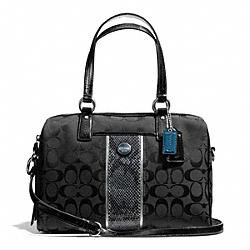 COACH F24884 - SIGNATURE STRIPE PYTHON STRIPE SATCHEL SILVER/BLACK GREY/BLACK