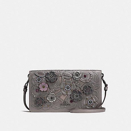 COACH f24958 FOLDOVER CROSSBODY CLUTCH WITH METAL TEA ROSE TOOLING<br>蔻驰边斜背离合器与金属茶玫瑰工具 黑暗青铜/HEATHER灰色
