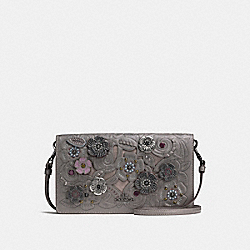FOLDOVER CROSSBODY CLUTCH WITH METAL TEA ROSE TOOLING - f24958 - DARK GUNMETAL/HEATHER GREY