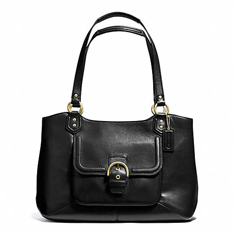 COACH F24961 CAMPBELL LEATHER BELLE CARRYALL BRASS/BLACK