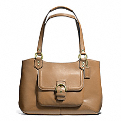 COACH F24961 - CAMPBELL LEATHER BELLE CARRYALL BRASS/CAMEL