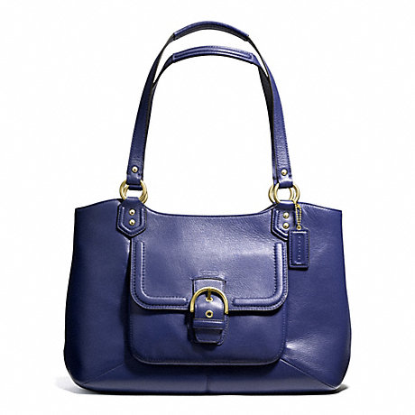 COACH F24961 CAMPBELL LEATHER BELLE CARRYALL BRASS/MARINE-NAVY