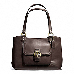 COACH F24961 - CAMPBELL LEATHER BELLE CARRYALL BRASS/MAHOGANY