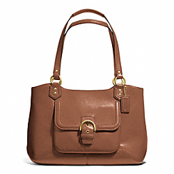 CAMPBELL LEATHER BELLE CARRYALL - f24961 - BRASS/SADDLE