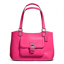 COACH F24961 - CAMPBELL LEATHER BELLE CARRYALL SILVER/POMEGRANATE