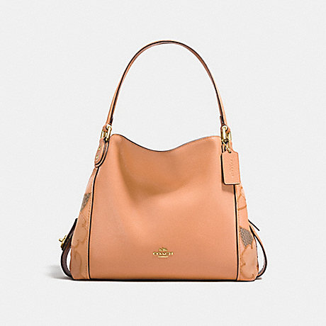 bc01f20190a3 COACH f24966 EDIE SHOULDER BAG 31 WITH PATCHWORK TEA ROSE AND SNAKESKIN  DETAIL APRICOT LIGHT