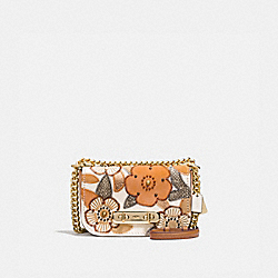 COACH SWAGGER SHOULDER BAG 20 WITH PATCHWORK TEA ROSE AND SNAKESKIN DETAIL - F24968 - CHALK MULTI/LIGHT GOLD