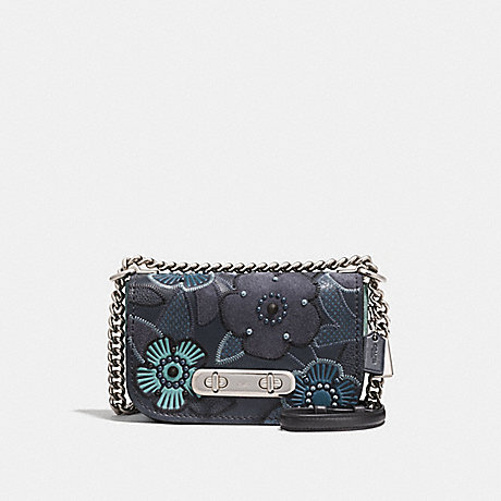 COACH F24968 COACH SWAGGER SHOULDER BAG 20 WITH PATCHWORK TEA ROSE AND SNAKESKIN DETAIL NAVY-MULTI/SILVER