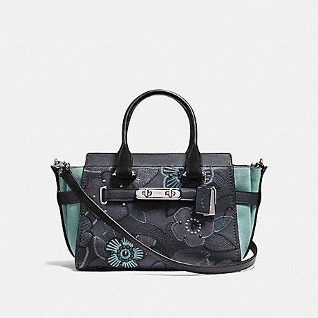 COACH f24969 COACH SWAGGER 27 WITH PATCHWORK TEA ROSE AND SNAKESKIN DETAIL SILVER/NAVY MULTI