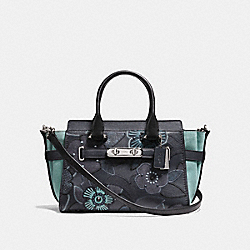 COACH SWAGGER 27 WITH PATCHWORK TEA ROSE AND SNAKESKIN DETAIL - COACH f24969 - SILVER/NAVY MULTI