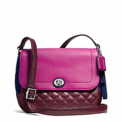 COACH F24982 Park Quilted Colorblock Violet Crossbody SILVER/BURGUNDY MULTI