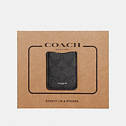 COACH F24993 - PHONE POCKET STICKER IN SIGNATURE CANVAS CHARCOAL/BLACK