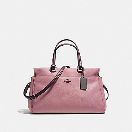 COACH f25006 FULTON SATCHEL IN COLORBLOCK DARK GUNMETAL/DUSTY ROSE