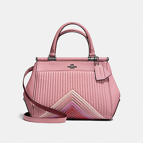 COACH F25007 GRACE BAG WITH COLORBLOCK QUILTING DUSTY-ROSE-MULTI/DARK-GUNMETAL