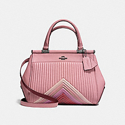 GRACE BAG WITH COLORBLOCK QUILTING - F25007 - DUSTY ROSE MULTI/DARK GUNMETAL