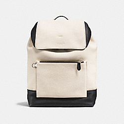 MANHATTAN BACKPACK IN COLORBLOCK - F25014 - CHALK/BLACK/BLACK ANTIQUE NICKEL