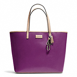 COACH F25028 Park Metro Patent Tote SILVER/AMETHYST