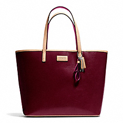 COACH F25028 Park Metro Patent Tote SILVER/BURGUNDY