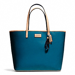 COACH F25028 Park Metro Patent Tote SILVER/TEAL
