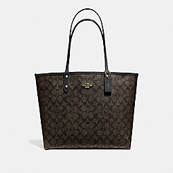 REVERSIBLE CITY TOTE IN SIGNATURE CANVAS - F25033 - BROWN/BLACK/LIGHT GOLD