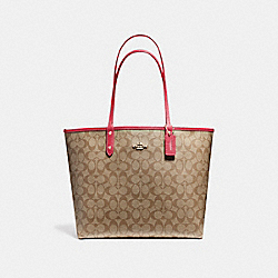 COACH F25033 Reversible City Tote In Signature Canvas IMITATION GOLD/KHAKI