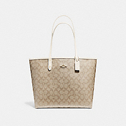 REVERSIBLE CITY TOTE IN SIGNATURE CANVAS - F25033 - LIGHT KHAKI/CHALK/LIGHT GOLD