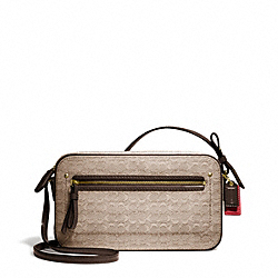 COACH F25043 Poppy Oxford Signature C Mini Flight Bag Crossbody BRASS/KHAKI/MAHOGANY