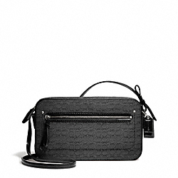 COACH F25043 Poppy Oxford Signature C Mini Flight Bag Crossbody SILVER/BLACK/BLACK