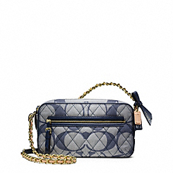 COACH F25044 Poppy Quilted Signature C Denim Flight Bag